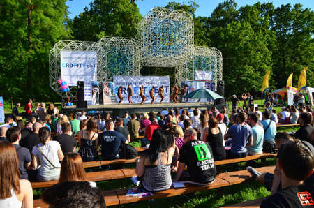 fest: Zagreb, Croatia. June 7, 2014. CRO FIT FEST - Croatian Fitness Festival held in Maksimir Park has attracted a large number of participants and visitors. Editorial