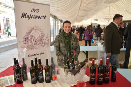 15th: Zagreb,Croatia. 15th February, 2014.. Croatian wine story - festival of love and wine at Ban Jelacic Square has gathered a large number of domestic wine producers
