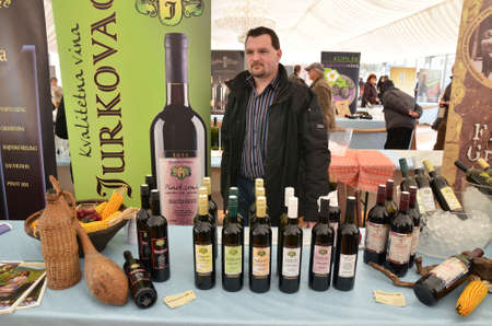 producers: Zagreb,Croatia. 15th February, 2014.. Croatian wine story - festival of love and wine at Ban Jelacic Square has gathered a large number of domestic wine producers