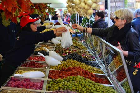 gastronomic: Zagreb,Croatia. 11 Apr 2015. On the European square are set stands on the occasion of Italia fest, gastronomic event of Italian delicacies Editorial