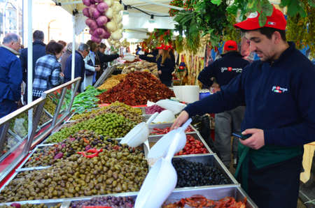 italia: Zagreb,Croatia. 11 Apr 2015. On the European square are set stands on the occasion of Italia fest, gastronomic event of Italian delicacies. Editorial