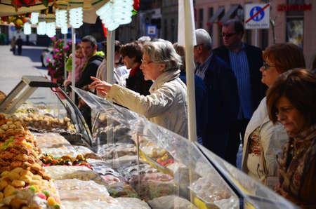 gastronomic: Zagreb,Croatia. 11 Apr 2015. On the European square are set stands on the occasion of Italia fest, gastronomic event of Italian delicacies. Editorial