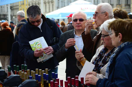 coordination: Zagreb, Croatia, 26th Apr, 2014. Society Goranin, Zagreb Tourist Board and coordination of Gorski KotarMountain District Tourist Board organized the event Gorski Kotar in Zagreb at Ban Jelacic Square. They presented eco products as well as the old cra