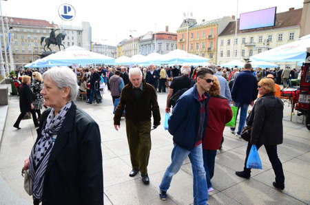 they: Zagreb, Croatia, 26th Apr, 2014. Society Goranin, Zagreb Tourist Board and coordination of Gorski KotarMountain District Tourist Board organized the event Gorski Kotar in Zagreb at Ban Jelacic Square. They presented eco products as well as the old cra