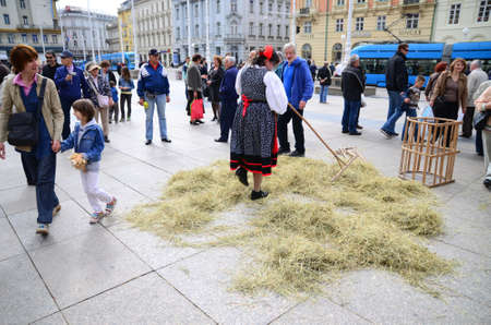 presented: Zagreb, Croatia, 26th Apr, 2014. Society Goranin, Zagreb Tourist Board and coordination of Gorski KotarMountain District Tourist Board organized the event Gorski Kotar in Zagreb at Ban Jelacic Square. They presented eco products as well as the old cra