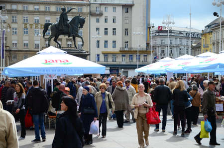 coordinacion: Zagreb, Croatia, 26th Apr, 2014. Society Goranin, Zagreb Tourist Board and coordination of Gorski KotarMountain District Tourist Board organized the event Gorski Kotar in Zagreb at Ban Jelacic Square. They presented eco products as well as the old cra