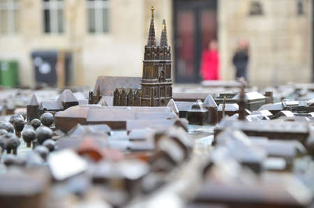 sculptor: Zagreb, Croatia. 14 Mar 2015. Tourists and citizens visit scale model Zagreb Welcomes You by sculptor Damir Matausic. Scale model located at the crossroads of Bakaceva and Cesarceve streets near the Cathedral