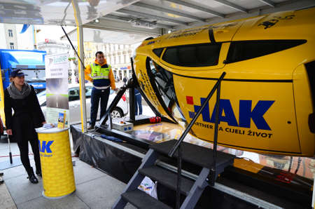 17th: Zagreb, Croatia. 17th May 2014. HAK-Croatian Auto Club had an educational program where citizens could get information about traffic safety. Citizens were able to sit in a simulator for the safety of the roll-over car. Editorial