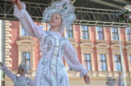 folklore: Zagreb, Croatia. 19th July, 2014. 48th International Folklore Festival at Ban Jelacic square.