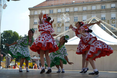 19th: Zagreb, Croatia. 19th July, 2014. 48th International Folklore Festival at Ban Jelacic Editorial