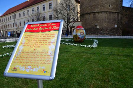croatian: Zagreb, Croatia. 28 Mar 2015. Croatian Easter eggs from the Heart in front of cathedral.