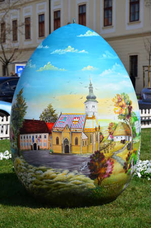 28: Zagreb, Croatia. 28 Mar 2015. Croatian Easter eggs from the Heart in front of cathedral.