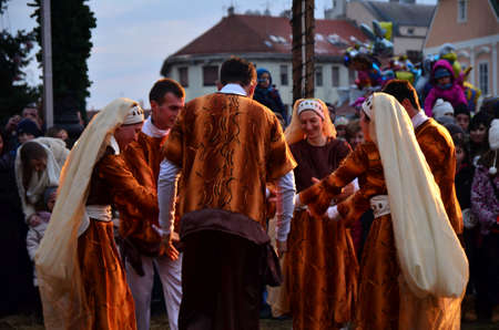 biblical events: Zagreb,Croatia. 06 Jan 2015. Last day of living nativity scene in front of the Zagreb Cathedral which organizes the Cenacolo Community.