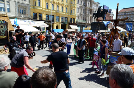 presented: Zagreb, Croatia. 24th May, 2014. The 14th annual St. Marks Fair medieval crafts fair on Ban Jelacic Square where local craftsmen and craftsmen from the region presented their products and services under the auspices of the Tourist Board of Zagreb