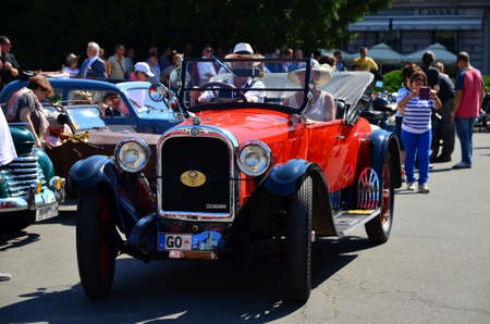 marshal: Zagreb,Croatia. 08 Jun 2014. In front of the Croatian National Theatre on the Marshal Tito Square started 29th traditional Zagreb oldtimer rally. Visitors were able to see rare vehicles. Start began at 10:00 and the goal of the rally is castle Trakoscan i