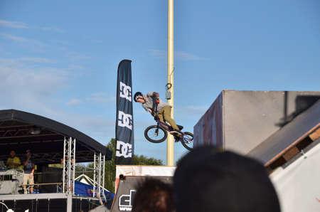 drava: Osijek, Croatia. August 16, 2014. PANNONIAN CHALLENGE XV. BMX DAY.