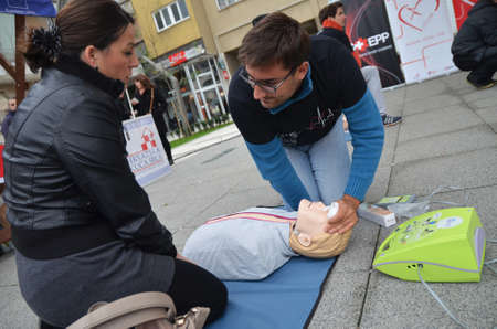 cardiopulmonary: Osijek, Croatia. 25th Oct, 2014. Animate me is a public health campaign to raise awareness of the importance of knowing CPR, Cardiopulmonary resuscitation.