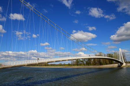 drava: Osijek,Croatia.  Suspension bridge on the river Drava Stock Photo