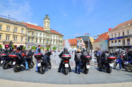 social actions: Osijek, Croatia. 19th Apr, 2014. Traditionally Motorcycle Club Osijek organized action of giving children under the name Moto Bunny which was held at Ante Starcevic Square