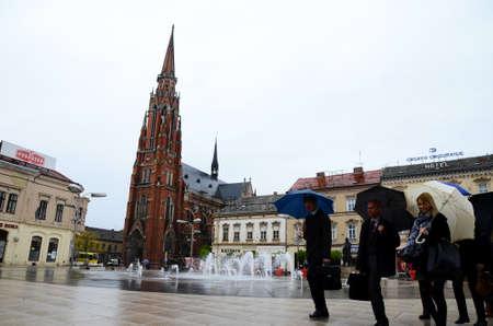 17th: Osijek, Croatia. 17th Apr, 2014. Croatia weather: Gloomy and rainy day in Osijek.