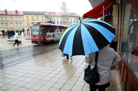 17th: Osijek, Croatia. 17th Apr, 2014. Croatia weather: Gloomy and rainy day in Osijek.