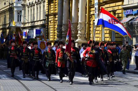 regiment: Zagreb,Croatia. Cravat regiment walking through the city center