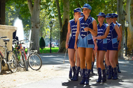 citizens: Zagreb,Croatia.30. Aug, 2014. Zagreb majorettes entertained the tourists and citizens in the park Zrinjevac. Editorial