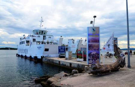 Tkon island of Pasman,Croatia. Jadrolinija Ferry port which connect Pasman island with Biograd city.