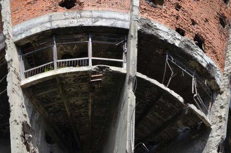 during: Vukovar,Croatia. 16 Aug 2014. Water tower damaged during the war. Editorial