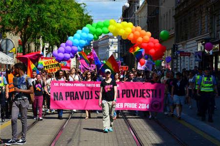 wedding parade: Zagreb, Croatia. 15th June 2013. 12th Zagreb Pride parade. Editorial