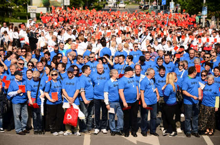 eights: Zagreb,Croatia. 1st May of 2014. - Celebration of Labour Day was held in Zagreb entitled Together for 8 8 8