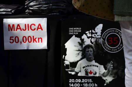 sep: Zagreb, Croatia.12 Sep 2015. Charity sale shirts on the occasion of the Terry Fox Run, which takes place September 20 at Lake Jarun. Editorial