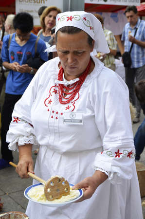 Zagreb,Croatia. 19 Sep 2015.100 Zagorsko - Sale Event of products and traditional crafts of Krapina-Zagorje County at Ban Josip Jelacic square. Editorial
