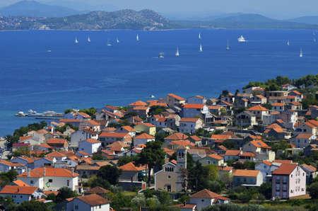 Panoramic view of ferry port Tkon,island of Pasman,Croatia Stock Photo