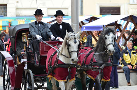 transported: Osijek,Croatia. 04 Apr 2015. Old wagon with horses transported citizens through to city center.