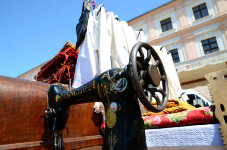 antiques: Osijek,Croatia. 05 July 2014. Antiques fair on the Holy Trinity Square in old town Citadel. Editorial
