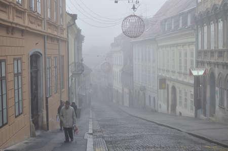 Zagreb, Croatia. 22nd Dec, 2013. Cold and foggy morning in Zagreb, Croatia.
