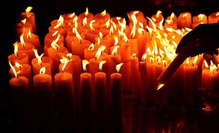 candles at the stone gate in Zagreb,Croatia