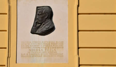 Zagreb,Croatia. Memorial plaque Nikola Tesla in Zagreb at the front of the old City Hall at Upper town