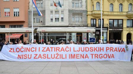 Zagreb, Croatia. 12th Apr, 2014. Protest Citizens Initiative Circle for square at Ban Josip Jelacic Square.