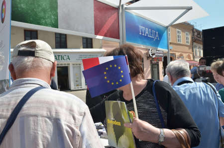 tastes: Zagreb, Croatia. 09 May 2015. Celebration of Europe Day at European Square with theme Tastes and sounds of Europe. Minister of Foreign and European Affairs Vesna Pusic attending the event where she cooked for citizens.