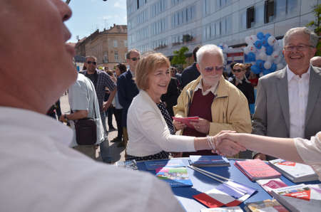 she: Zagreb, Croatia. 09 May 2015. Celebration of Europe Day at European Square with theme Tastes and sounds of Europe. Minister of Foreign and European Affairs Vesna Pusic attending the event where she cooked for citizens.
