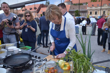 Zagreb, Croatia. 09 May 2015. Celebration of Europe Day at European Square with theme Tastes and sounds of Europe. Minister of Foreign and European Affairs Vesna Pusic attending the event where she cooked for citizens.