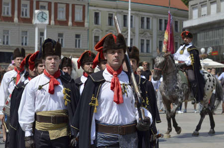 regiment: kravat regiment at Ban Josip jelacic square in Zagreb,Croatia Editorial
