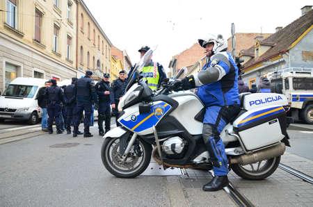 police force: Croatian police force in Zagreb,Croatia