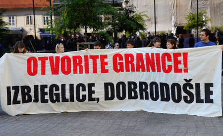 sep: Zagreb, Croatia. 12 Sep 2015. Marking the Day of Solidarity with Refugees #refugeeswelcome at European Square.