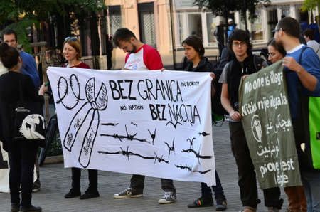 tolerate: Zagreb, Croatia. 12 Sep 2015. Marking the Day of Solidarity with Refugees #refugeeswelcome at European Square.