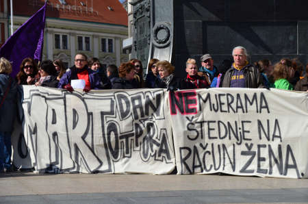 activist: Zagreb,Croatia. International Womens Day marked in Zagreb protest activist for womens rights