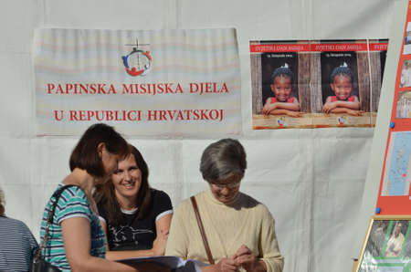 missionary: Zagreb,Croatia. 18th Oct, 2014. Occasion of the World Mission day in front of Zagreb Cathedral