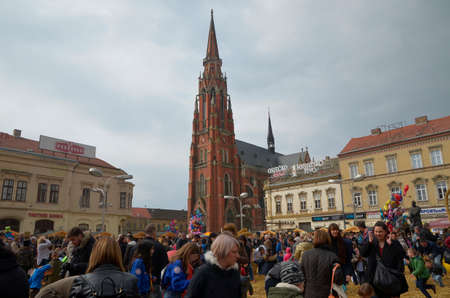 held: Osijek, Croatia. 26 Mar 2016. Traditionally Motorcycle Club Osijek organized action of giving gifts to children under the name Moto Bunny which was held on Ante Starcevic Square.